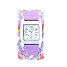 Casual de cuero trenzado cuerda pulsera reloj de pulsera hecho a mano la amistad moda mujeres del reloj del cuarzo mira el envío libre púrpura