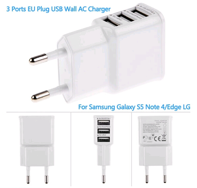 3 Port EU Plug USB Wall AC Charger Adapter for Iphone 6 Plus 5 5S For Samsung Galaxy S6 S5 S4 Note 4/Edge LG For Xiao Mi Charger(China (Mainland))
