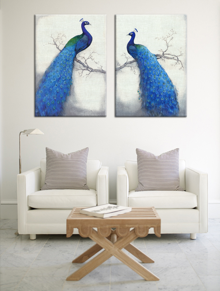 Most fashion beautiful blue peacock art paintings canvas for Home decorations peacock