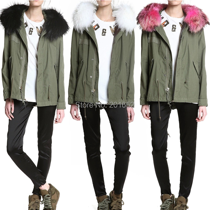 mrs fur outstanding design overcoat soft touching jacket ladies parka coats detachable collar coat raccoon - Harve leger store