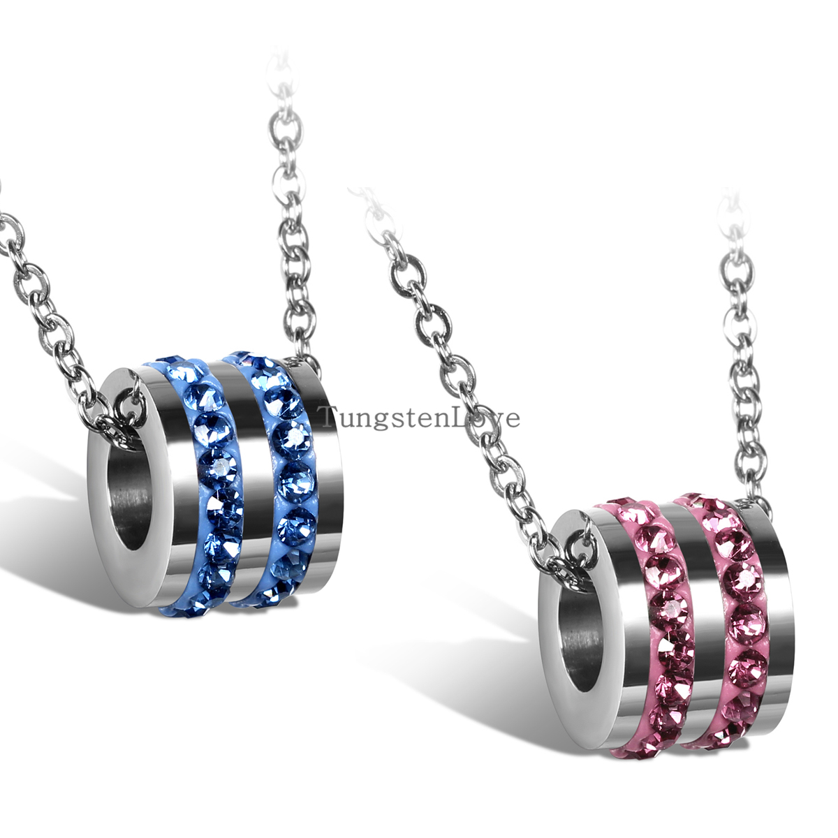 2015 Fashion Crystal Necklace Pink & Blue Rhinestone Cylinder long Necklaces for women hot sale wholesal necklaces(China (Mainland))