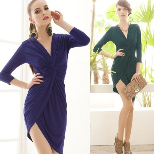 Free Shipping New Fashion 2013 Spring Summer Women Retro Deep V Sexy Three Quarter Sleeve Dress 4 Colors Factory Price Wholesale
