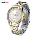 LONGBO Luxury Lovers Couple Watches Men Date Day Waterproof Women Gold Stainless Steel Quartz Wristwatch Montre