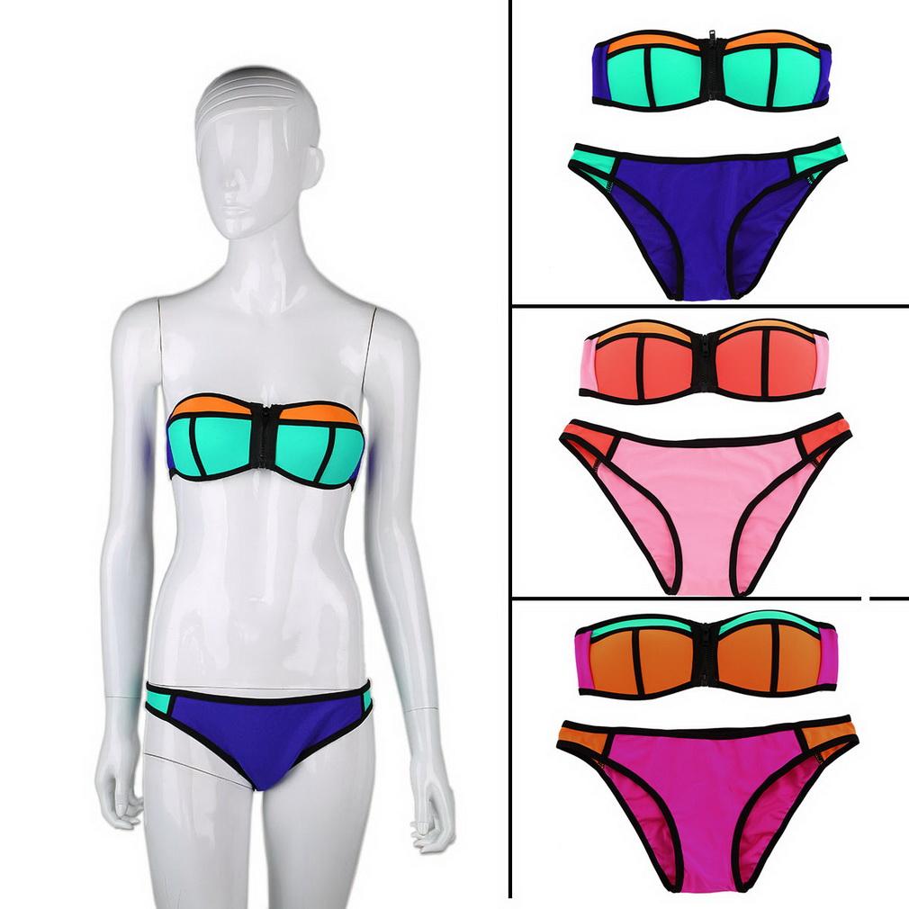 Bathsuit купальник сексуальный цвет блока лента для волос росту бикини женщин triangl купальники бикини комплект майо де бэйн новый летний стиль