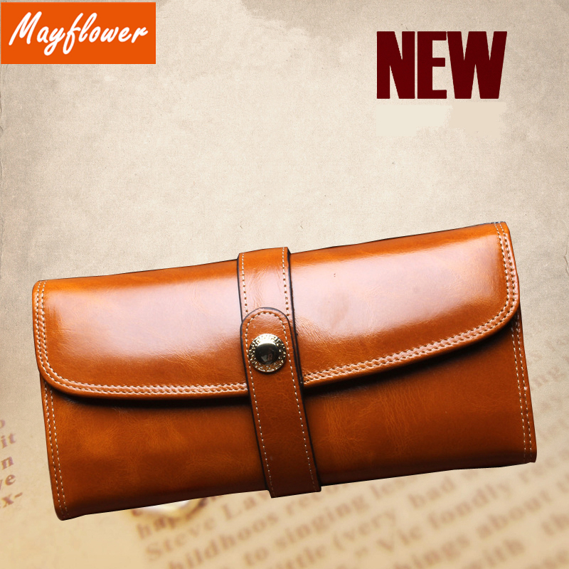 2016 Vintage Oil Wax Genuine Leather Long Wallet Women famous brands High Quality purse Ladies Clutch bag for phone Money Cards(China (Mainland))