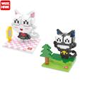 Wisehawk Cute Kitty Cat DIY Cartoon Blocks Educational Building Bricks 3D Action Minifigures For Kids Toy