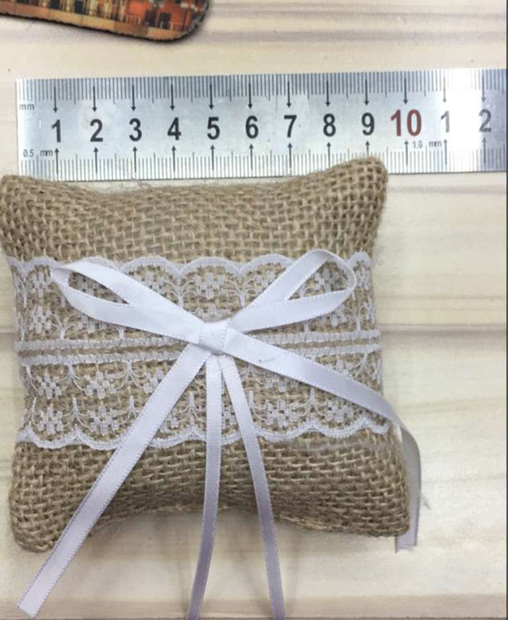 """3.5"""" Rustic Wedding Burlap Ring Bearer Pillow Floral Lace Bowknot Ring Pillow for Wedding Accessories Decoration Free Shipping(China (Mainland))"""