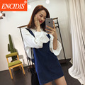 2016 Latest Women Clothing Fashion Summer Denim Mini Dress Sleeveless Loose Short Sexy Suspender Jeans Dresses