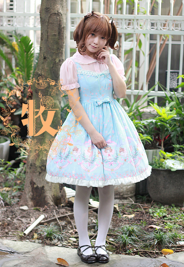 Sweet Turndown Collar Trumpet Sleeves Empire Knee-length Ruffles Lolita DressОдежда и ак�е��уары<br><br><br>Aliexpress