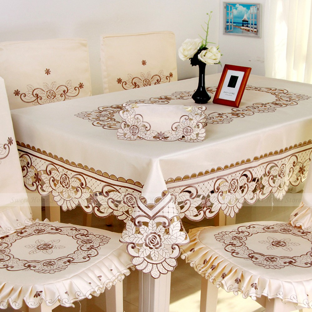 yazi Vintage Embroidered Rose Flower Cutwork Tablecloth Fabric Square Table Cover 150x220cm Wedding Decor(China (Mainland))