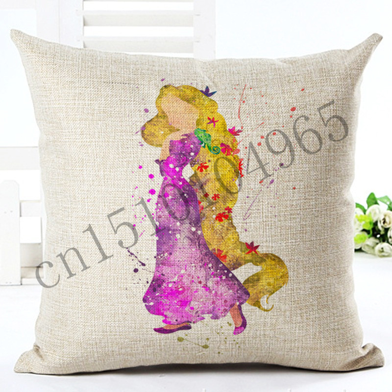 2016 Cartoon Style Colorful Long Hair Woman New Home Decorative Cushion Chair Throw Pillow Square Cojines Cotton Linen Fundas(China (Mainland))