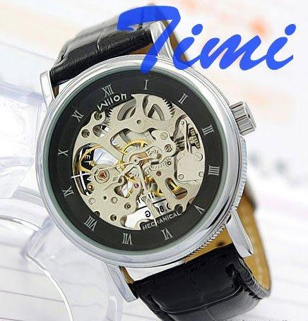 WILON Fashion leather Men Mechanical Watch black