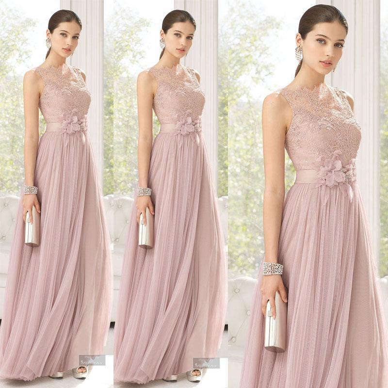 Bridesmaids dresses blush color tulle lace hand made for Maid of honor wedding dress