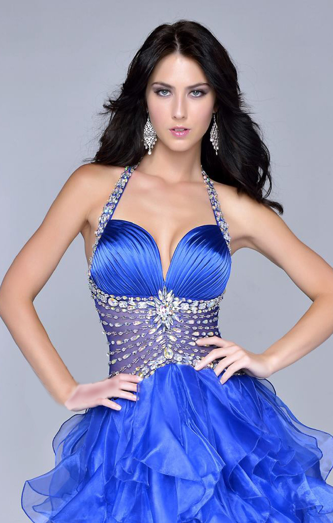 Vestidos de gala 2015 nueva sexy novia real azul borgoña alto bajo vestido de fiesta opacidad