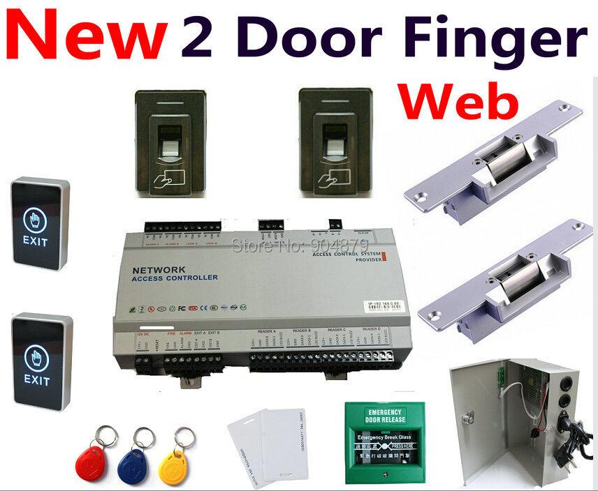 3000 Fingerprint+3000 RFID Card 2 Door Access Controller Panel Box + UPS Power+Fire Alarm+Pin Code Reader Card Reader+Keytag(China (Mainland))