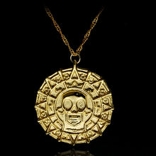 Movie Pirates of the Caribbean Necklace Aztec coin Vintage Gold Captain Jack Sparrow Medallion Skull Pendant Necklaces For Men(China)
