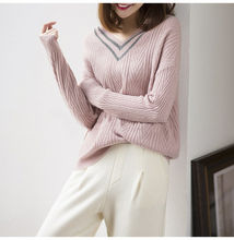 Sweater female V-neck pullover loose cashmere sweater wild knit brand bottoming shirt regular section 2018 autumn and winter mod(China)