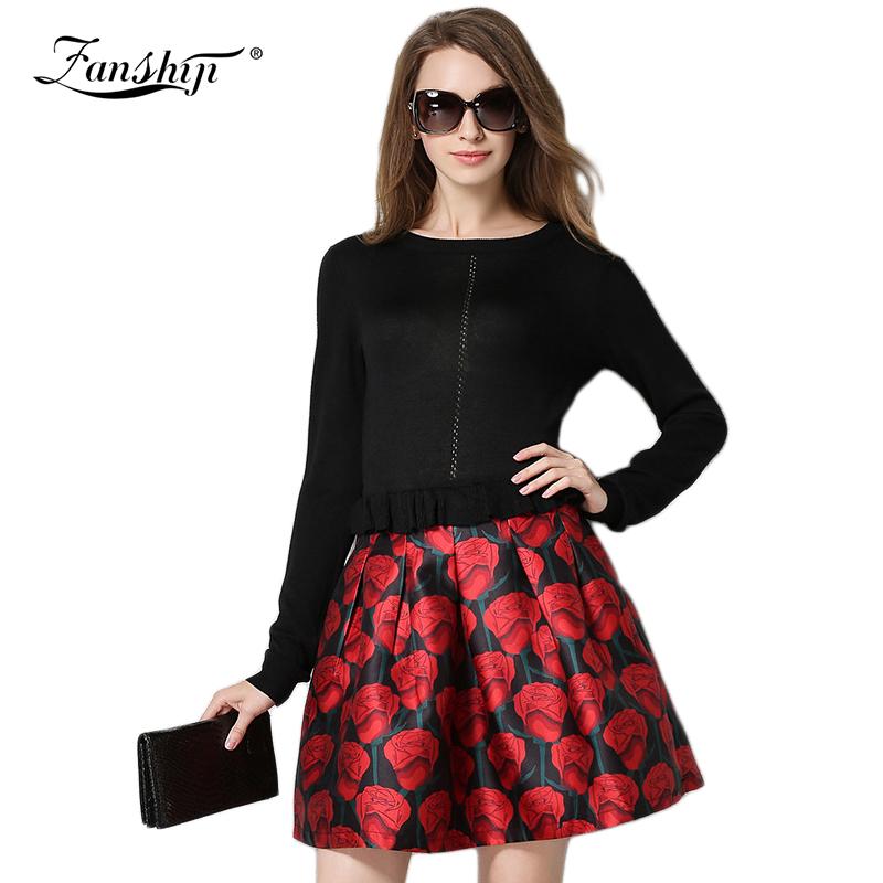 2016 Spring New Women's Fashion Mini Dress Fashion Knit Stitching Solid Women Dress Long Sleeve O-neck Sexy Slim Female Dress
