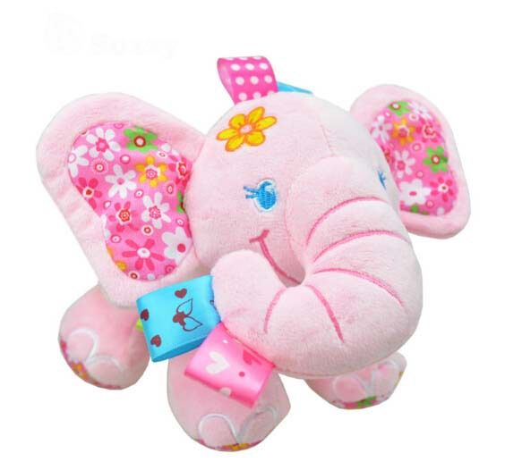 Cute Elephant Stuffed Animal Kids Preferred Playmate Soft Appease Plush Toys Baby Clam Doll Bed Car Hanging Rattles(China (Mainland))