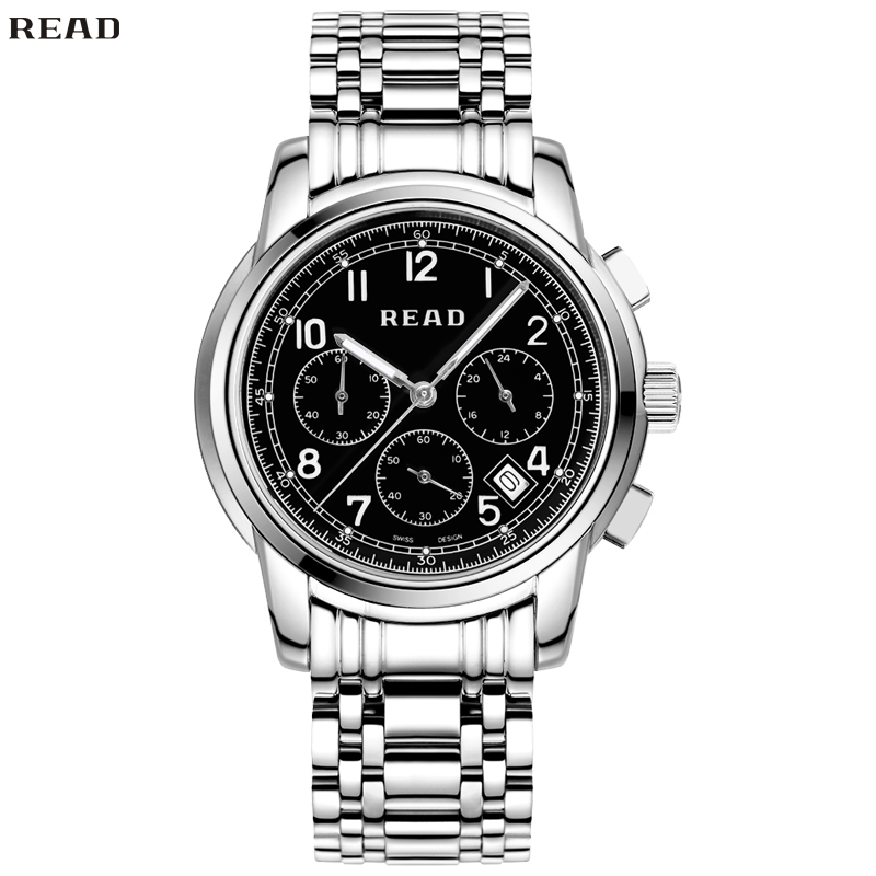 READ Men Shows Classic Automatic Machine Series Male Table Waterproof Multifunction Quartz Watches Mirror Finish Dial R7001-85(China (Mainland))
