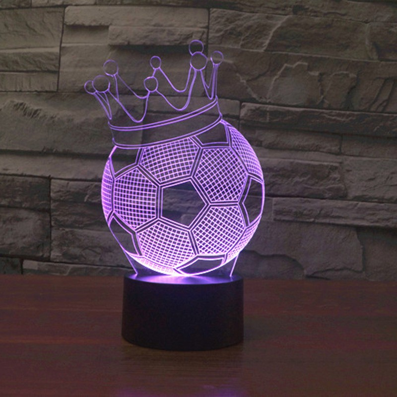 Bedroom 3D Magical Night Light Decorative  illusion Crown Football Lamp  Warm LED USB Table Lamp