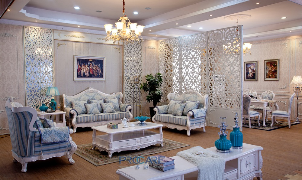 Turkish Blue And White Fabric Sofa Set Solid Wood Furniture Modern Living Room Couches Furniture