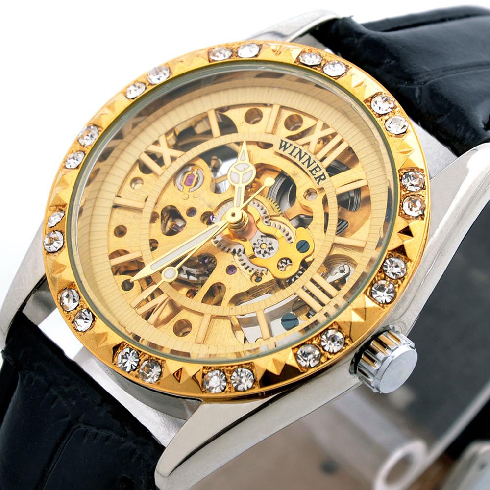 Fashion Brand Winner Leather Band Women Men Skeleton Automatic Mechanical Watch Dress Diamond Wrist - Zexus Jewelry & Store store