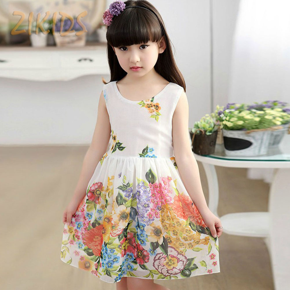 Kids Dresses for Girls Summer Dress Casual Children Clothing Cute Flower Print Sleeveless Baby Girl Clothes for Party Beach(China (Mainland))