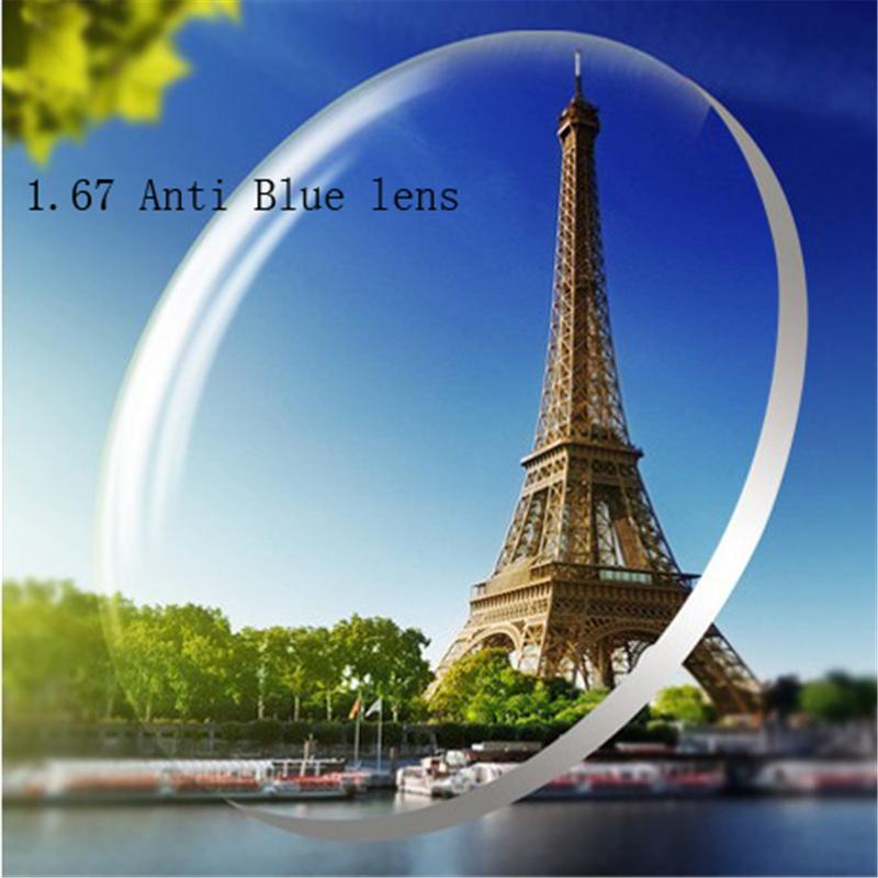 1.67 Anti-blue Custom Myopia glasses Prescription nearsighted lens women men discount glasses lens Optics lens eyewear