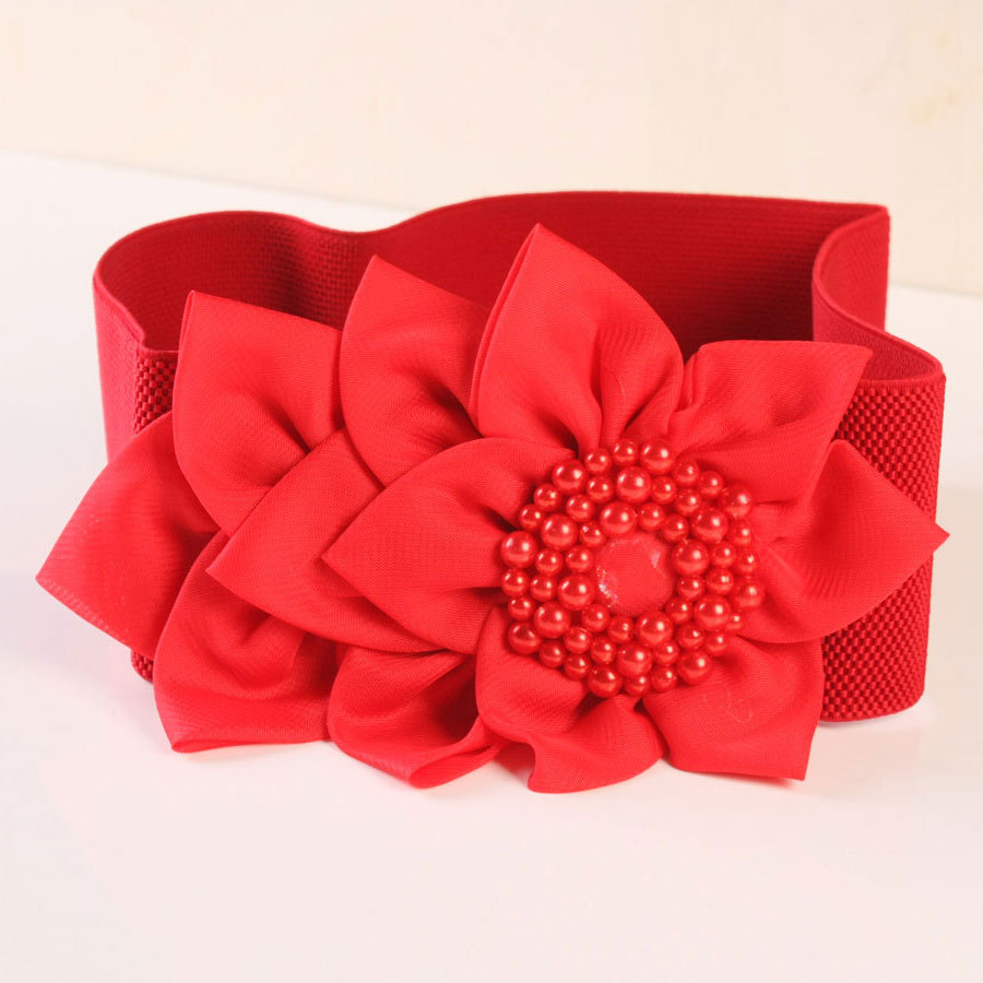 Black pearl belt female Korean red flowers decoration waist girdle all-match Wide Brown Spot - Mechi clothing store