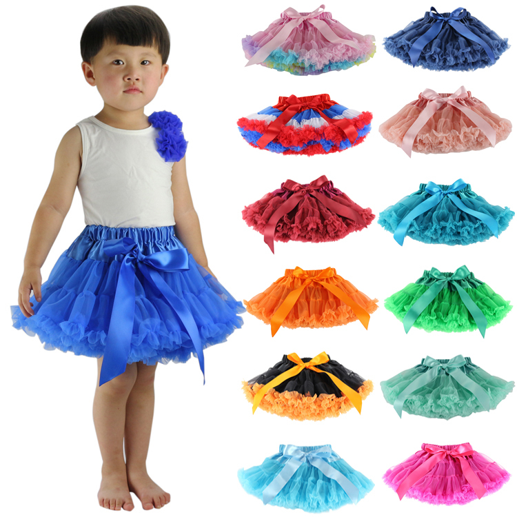 Retail Baby girls chiffon fluffy pettiskirts tutu Princess party skirts Ballet dance wear girls pettiskirt tutu 12Mo-10Ys(China (Mainland))