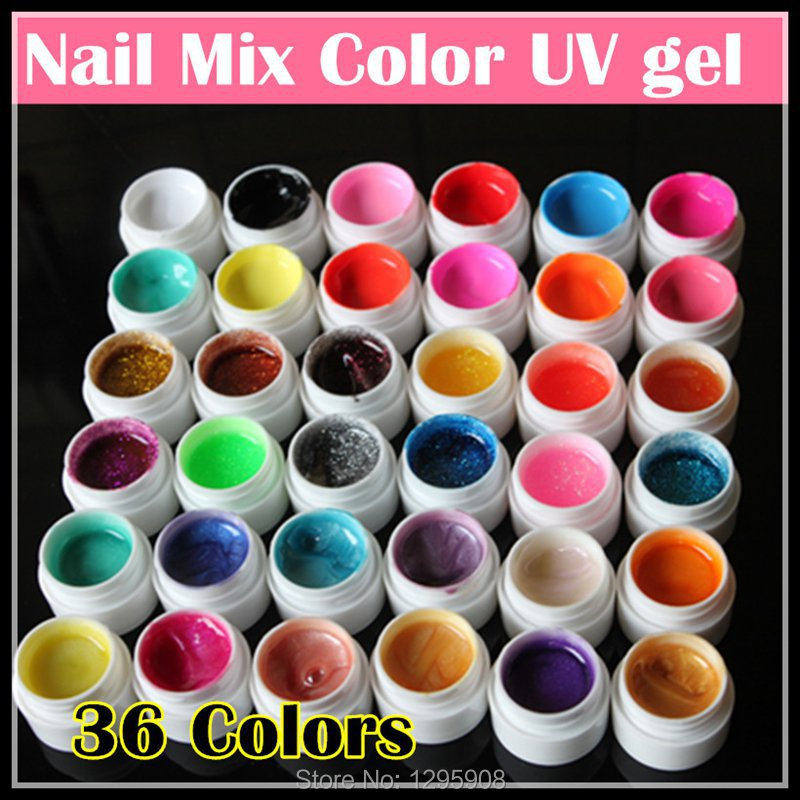Professional new 36 Mix Colors Nail Art UV gel Pure+Glitter Powder+Shimmer Colorful Nail Gel UV gel set,5g/bottle(China (Mainland))