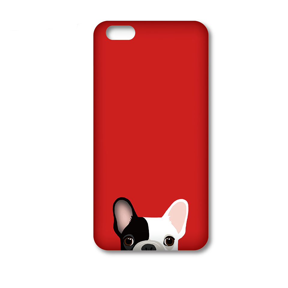 2016 Fashion red background Bulldog printing all-inclusive border fell slim hard plastic Phone bag case for iPhone 5S 6 6S Plus(China (Mainland))