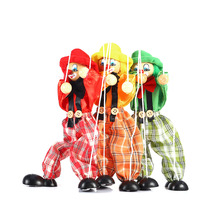 Cute Clown Marionette Childhood Educational Toys Figure Puppet Shadow Play Clown Kids Child Baby Wooden Funny Traditions Classic(China (Mainland))
