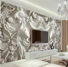beibehang Classic white European style relief 3d stereoscopic television background wall painting Custom mural wall paper