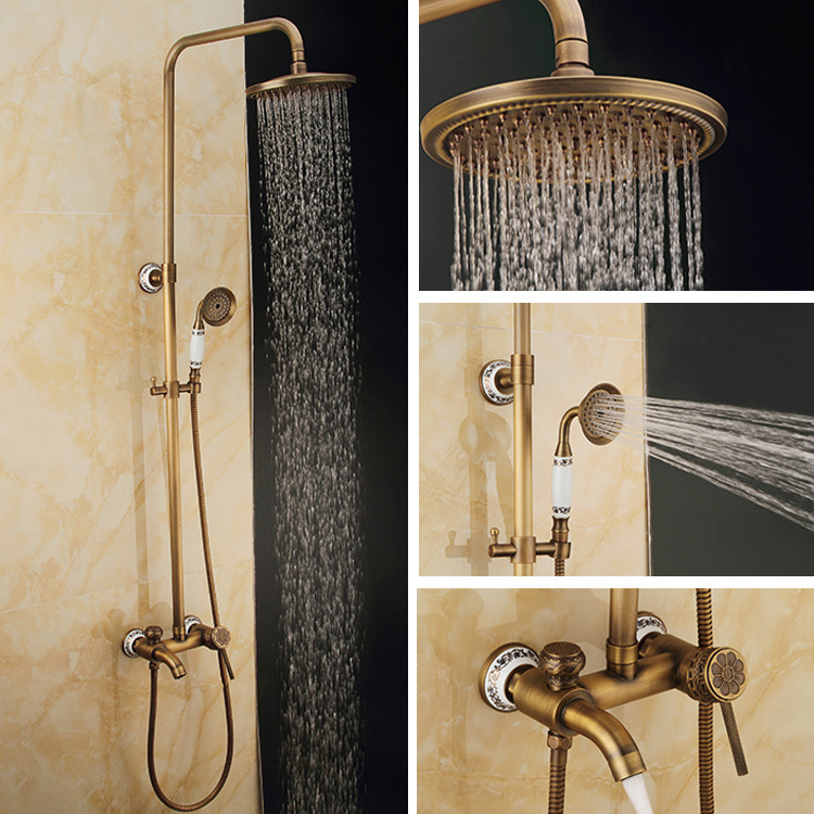 Bathroom Antique Shower Set Faucet Brass Mixer Tap Dual Handles Ceramic and Carved Rainfall 8'' Shower Set Faucet Wall Mounted(China (Mainland))