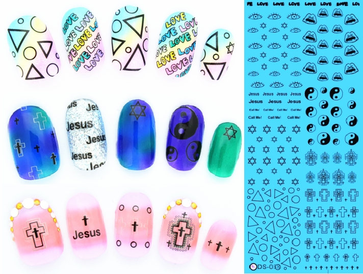 Fashion Featured Special Designs Water Nail Decals For Nail Art Decoration Water Transfer Stickers For Nail Beauty #DS058(China (Mainland))