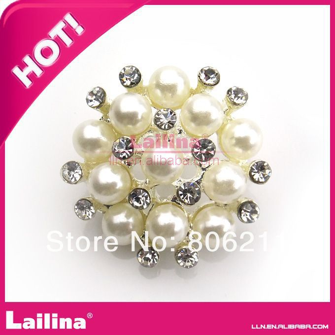 Clear pearl button /rhinestone button for wedding invitation 26mm(China (Mainland))