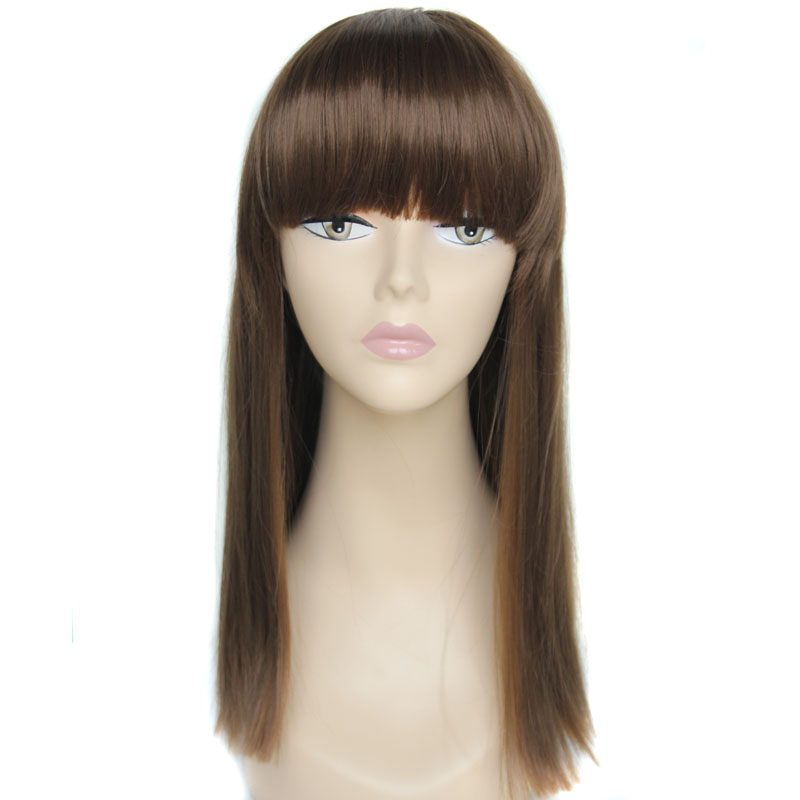 Free shipping wig young Sexy Heat Resistant  Long Ladies Straight Wigs Skin top BANGS Wig color 8#  Length: 18 <br><br>Aliexpress
