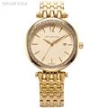 TAYLOR COLE Calendar Display Crystal Clock Gold Stainless Stainless Steel Crystal Analog Quartz Wrist Women Dress