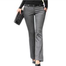 Pants Women 2015 Mid Waist Work Suit Pants Plus Size Casual Straight Pant , Grey , Black Fashion Career Professional OL Pants(China (Mainland))