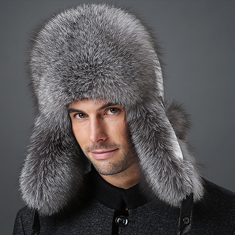 Winter hats with ear flaps Men Snow warm mink fur outdoors leather cap fox raccoon cotton Hat for middle-aged men free shipping(China (Mainland))