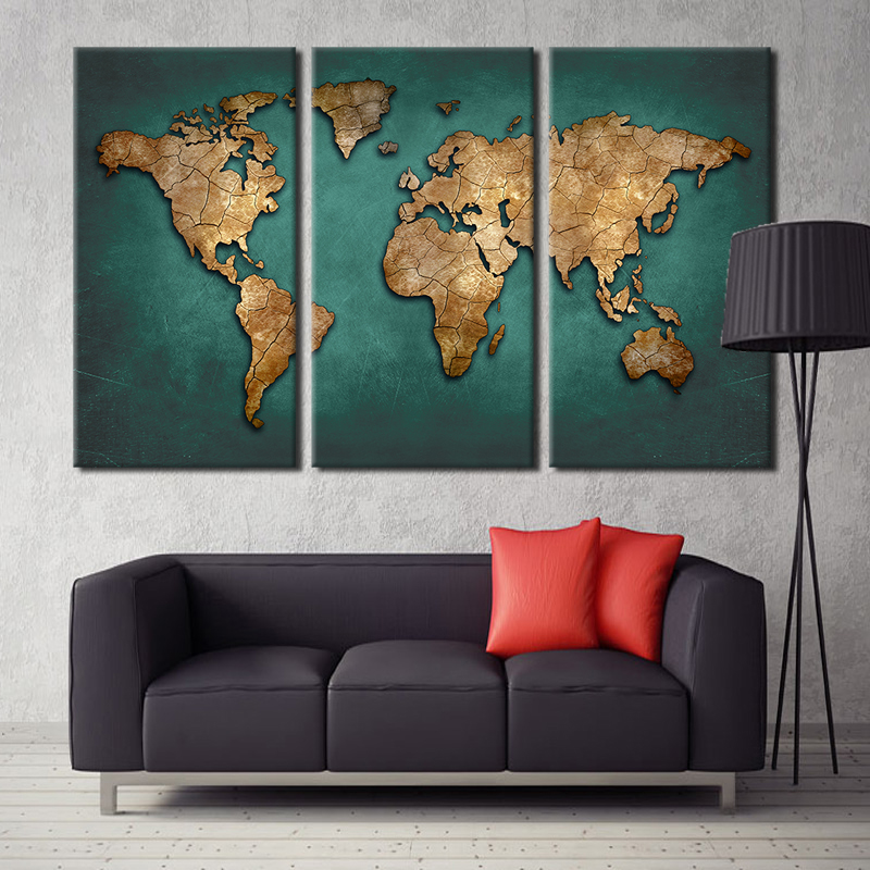 Buy world map canvas wall painting home decor vintage large dark green maps art - Wall paintings for home decoration ...