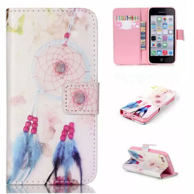 Luxury Relief Painted Flip Leather Wallet Case For iphone 5 C 5C with Stand Design&Card Slot Mobile phone case(China (Mainland))