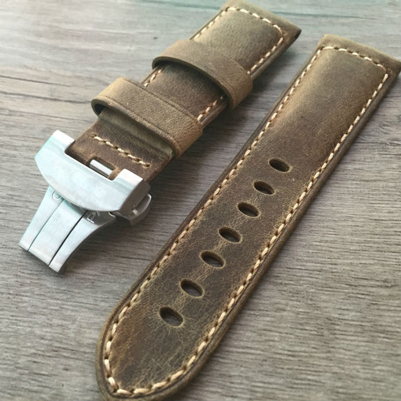 PAM 24mm Vintage Brown Italy Calf Leather Watchband Strap With Butterfly Buckle With Logo Free shipping(China (Mainland))