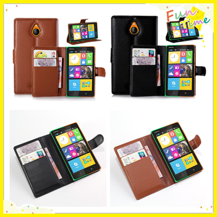 Litchi Pattern Leather Flip Case Nokia X2 card slots stand function - Shen Zhen Kingma Electronic Co., Ltd store