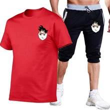 2019 летние комплекты высокого качества Dragon Ball Z Goku футболка + Брендовые мужские шорты Одежда 2 шт. костюм спортивный костюм модные повседневны...(China)