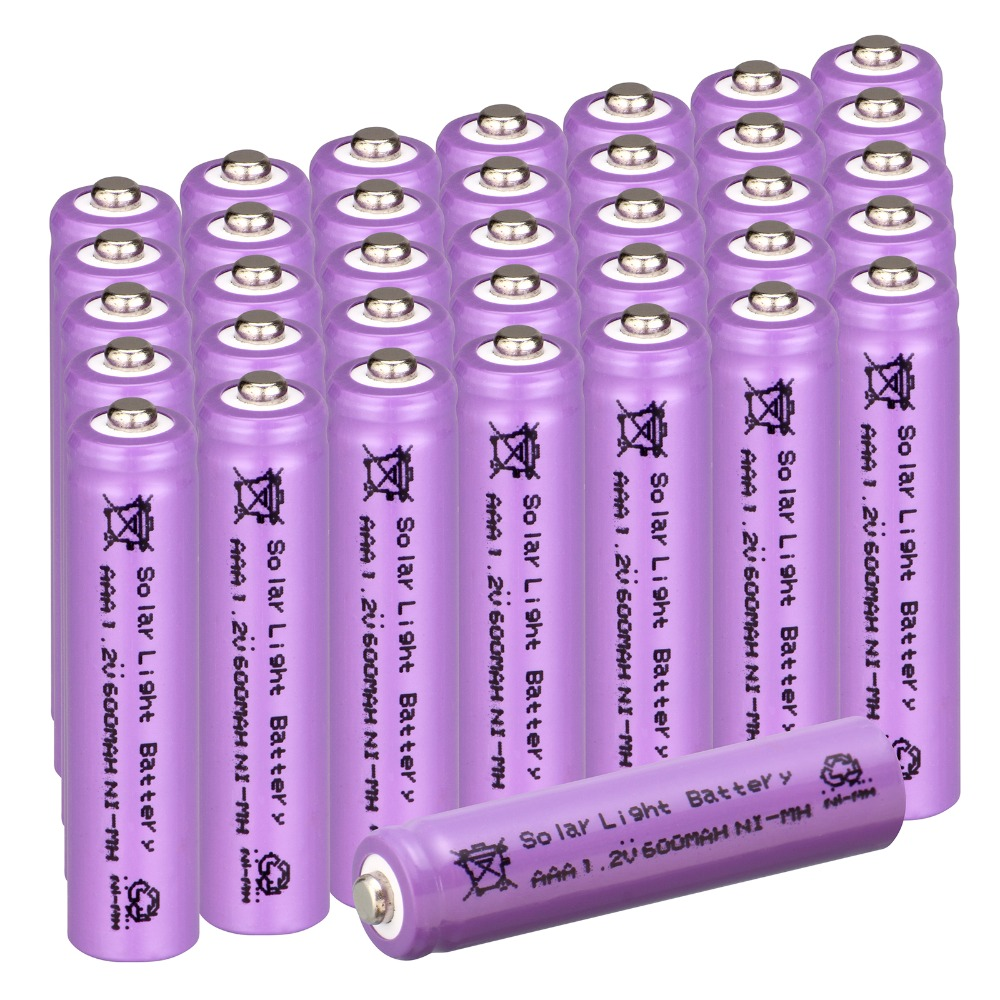 36 pcs AAA Solar light battery solar Rechargeable battery replacement Ni-Mh 600mAh 1.2v Batteries-purple color(China (Mainland))