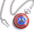 Captain America Icon Pendant Necklace Chain Quartz Pocket Watch Men Women Free Shipping