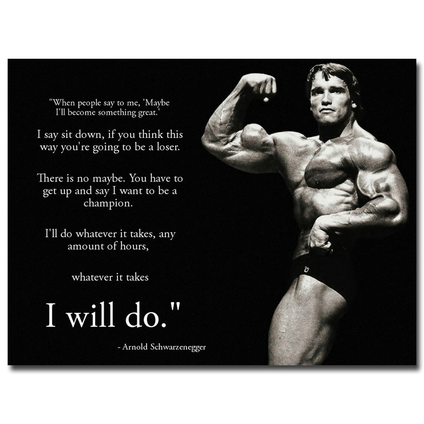 arnold schwarzenegger motivational quotes silk poster
